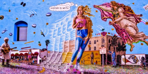 History is Myth mural in Los Angeles near Muscle Beach.